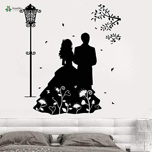 yuandp Vinyl Wandtattoo Paar Romantische Liebe Kleid Straßenlaterne Blume Wohnzimmer Kunst Dekoration wandaufkleber 57 * 63 cm -