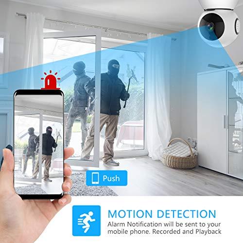 Zeetopin WLAN Kamera IP Überwachungskamera 1080P mit Nachtsicht, 2 Wege Audio, Fernalarm, Bewegungserkennung, Mobile App Kontrolle als Baby/Haustier-Monitor