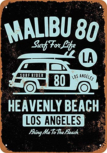 OURTrade 12 x 16 Metal Sign - Malibu 80 Surfing Los Angeles Woody - Vintage Look -