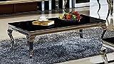 Couchtisch 130 x 70 x 42 Aura schwarz Wohnzimmer designer luxus Tisch Büro Edelstahl Glas Barock Chrom schwarzglas