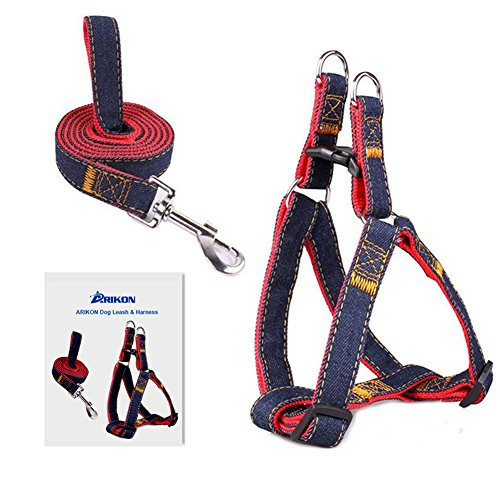 Dog Leash Harness, ARIKON Adjustable and Heavy Duty Denim Dog Leash Collar for Training Walking Running, Rescue No-Pull Harness for Large/Medium/Small Dog