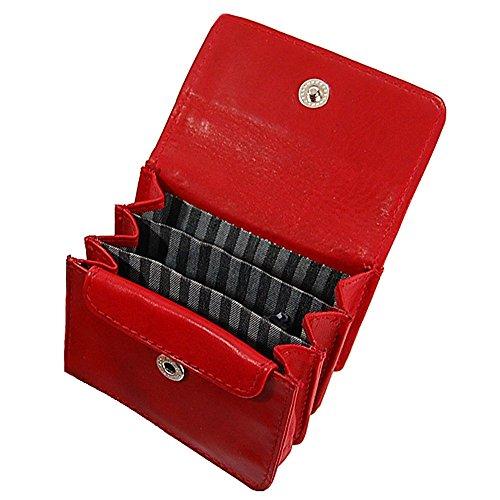 c95d141a8a1ef Branco Münzbörse Leder Minibörse Geldbörse Geldbeutel Portemonnaie kleine  Börse GoBago Schwarz Rot