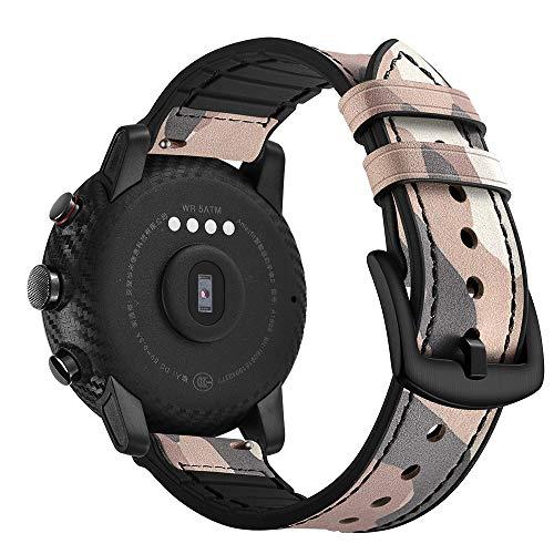 AISPORTS For Ticwatch Pro Strap Leder Silikon Gummi Hybrid 22 mm Damen Herren Armband Armband Ersatz Band für Amazfit Stratos 2/2S, Ticwatch Pro, Samsung Galaxy Watch 46 mm/Gear S3 Camouflage Pink