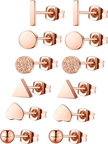 Hestya 6 Paar Herz Dreieck Rechteck Kreis Matt Kreis Kugel Überzogene Ohrstecker Mini Bar Ohrring für Damen Mädchen (Rose Gold)