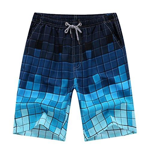 Männer Schwimmen Surf Printed Beach Shorts, Summer Board Swim Wear Shorts Trunks (4XL, Farbverlauf Fliesen) (Trunks Swim Länge)