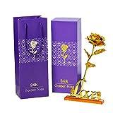 Rosa de Oro Chapada en Oro con Caja de Regalo para Madre para Amor en el Día de San Valentín para Aniversario para Amigos como Un Regalo de Cumpleaños Hoja de Oro riou