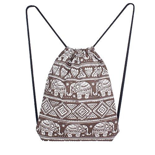 Bolsos Niñas Infantil FAMILIZO Bolso Bolso de hombro de la mochila del bolso del cubo de la alta capacidad de la impresión del elefante sólido de las mujeres BW