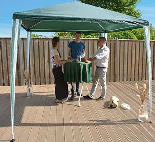 Tenda padiglione pieghevole 270 x 270 cm (2.7 x 2.7 m) gazebo tendone per ricevimenti | verde / bianco | sorara | per giardino terrazzo mercato campeggio festival impermeabile