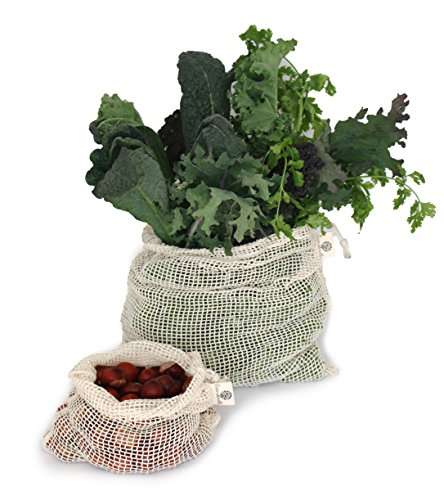 Wiederverwendbare Obst- und Gemüsebeutel aus Bio-Baumwolle (GOTS) mit Kordelzug - Einkaufsnetz / Lebensmittelbeutel im 2er Set natur (L,M) (Gehen Obst)