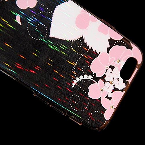 Custodia per iphone 6 Plus 6S Plus, Ukayfe Divertente Capriccioso Design TPU Gel Silicone Protettivo Skin Custodia Protettiva Ultra Slim Shell Case Cover Per Apple iPhone 6 Plus/6S Plus 5.5 pollici co Rosa fiori bianchi#4