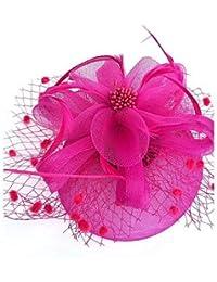ABC-Sombreros y gorras Boinas   Pluma Red Fascinators Flores Sombreros with 3c459232cf3