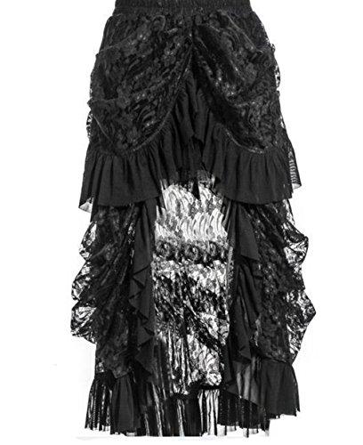 Zooma Damen Steampunk Gothic Schwarz Spitze Rock Lang Röcke (L(Taille (Steampunk Kleid)