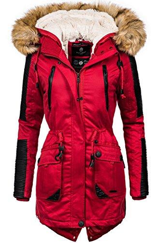 Navahoo Damen Jacke Winterjacke Winterparka Dunja (vegan hergestellt) Rot Gr. L