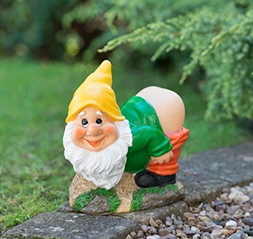 New Solar Mooning Garden Gnome Add a funny decorative lighting to your garden - YELLOW