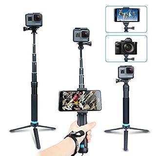 AFAITH Wasserdichte Selfie Stick Stativ Verlängerung Aluminiumlegierung Handgriff Teleskop Handheld Selfie-Stangen für GoPro Hero7 Black Hero 6/5 iPhone XS Max/XS/X/8 Plus Samsung Galaxy S9 GP073