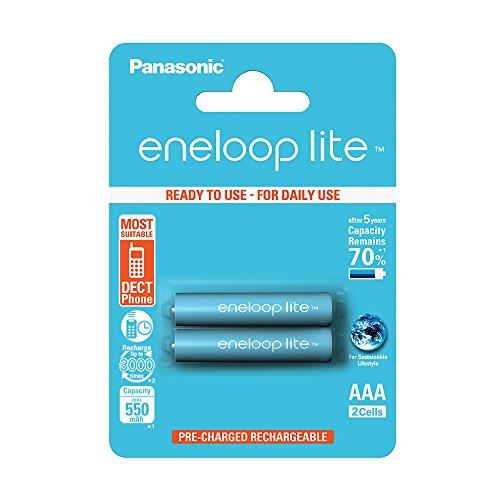 Panasonic Blister 2 Batterie Ministilo AAA Ricaricabili ENELOOP, Argento