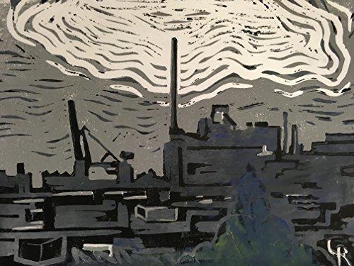 Panorama Industriehäfen Bremen - Linolschnitt, von Hand einzeln gedruckt, etwa 15x20cm, Limitiert...