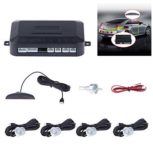 TiooDre Parking Sensors 12 V 0,5 W Dual-Core Car Reverse Backup Radar Alert System Front and Rear LCD Display Buzzer Bibi Alarm for All Car, Silver Backup-alert-system