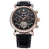 GuTe - Orologio da abito di lusso, da uomo, con movimento meccanico automatico, cassa in oro rosa e quadrante di colore nero