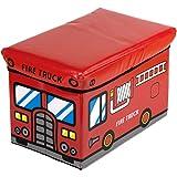 Bieco 4931307 - Caja para juguetes con asiento (49 x 31 x 31 cm), diseño de camión de bomberos