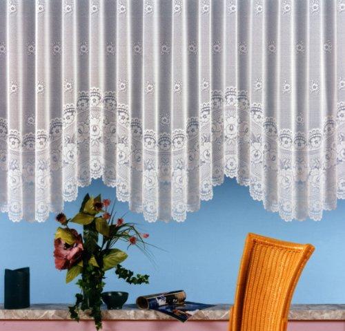 Gardine, Blumenfensterstore mit ca. 125 cm Bogen und Universalschienenband, Größe 125x250