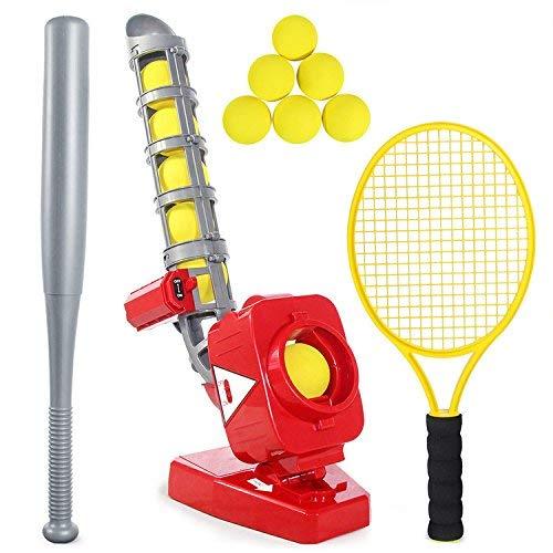 GJ688 2 in 1 Baseball Tennistraining Pitching Maschine früh Lernen, Outdoor-Sportspiele Kinderspielzeug mit 2 Schlägern und 6 Bällen, rot zu entwickeln,C