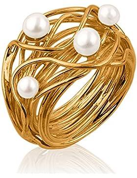 Nenalina - Perlenring aus vergoldetem 925 Sterling Silber handgearbeitet mit echten Süßwasser Perlen, vergoldet...