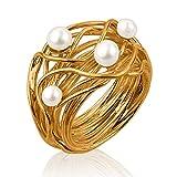 Nenalina Damen Ring Perlenring besetzt mit 2 Süsswasserperlen 4 mm und 2 Süsswasserperlen 5 mm in weiß, handgearbeitet aus 925 Sterling Silber vergoldet, Gr. 56-721058-542-56