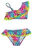 VanessaShop Schöner Mädchen Bikini in One-Shoulder Optik in bunten Farben mit Volant und vielen tollen Bommels am Rand in den Größen 134-164