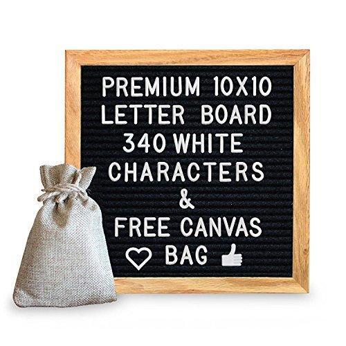 ssiv Eiche, gerahmt, Wechselhafte Buchstabe Board, mit gratis Leinwand Tasche, 340Zeichen, einschließlich emojis, Zahlen & Zeichen und Wandmontage Haken ()