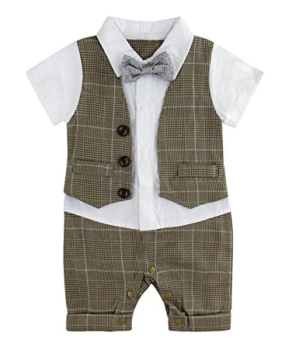 Jungs Strampler Smoking Kariertes Hemd Anzug mit Fliege (Khaki, 9-12 Monate) ()