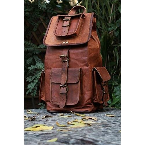 "pranjals house Vintage Handmade Leather Trendy Backpack Bag for Unisex (Darkish Brown) 16""(L),11""(W),7""(D) Image 2"