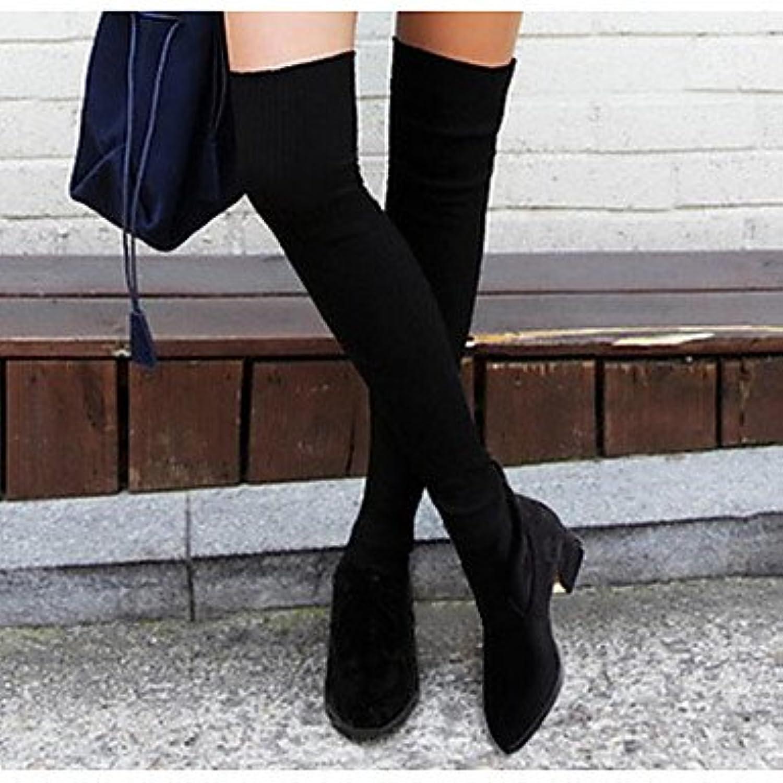 RTRY Zapatos De Mujer De Tela Caída De La Moda De Primavera Sobre La Rodilla Botas Botas Botas Para Casual Negro...