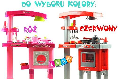 Ninos gran cocina con horno, vitrocerámica, freidora, lavavajillas y muchos accesorios - Cocina moderna con la luz, el sonido - de color rosa