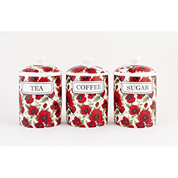 Poppy Fields Sugar Canister Amazoncouk Kitchen Home
