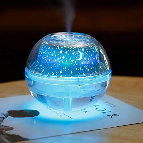 LED Rotierende Kristall Nachtlampe Star Sky, Stars Moon Projektor mit Auto - Off - Luftbefeuchter, für Kinder Erwachsene und Kinderzimmer Dekor, Home Office - Crystal 500ml