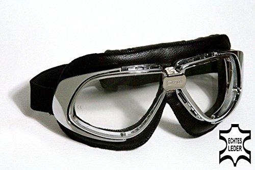 occhiali-da-moto-nero-trasparente-cromato-di-plastica-pelle