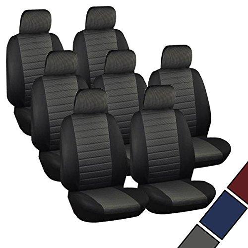 Preisvergleich Produktbild VAN Sitzbezüge Schonbezüge Sitzbezug universal 7x Sitzer Sitze Kariert Grau AS7231
