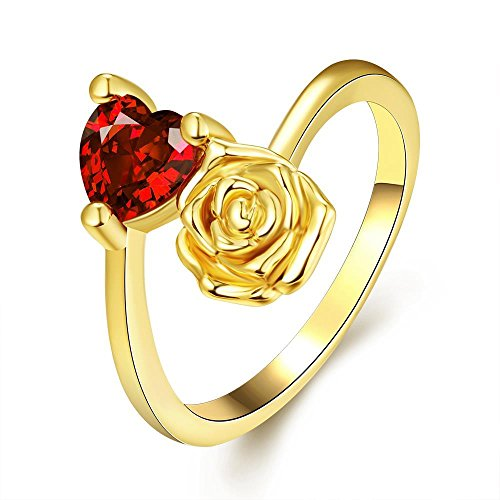 Via Mazzini 24k Gold Plated Flower Proposal Red Heart Ring For Women And Girls (Ring0367)