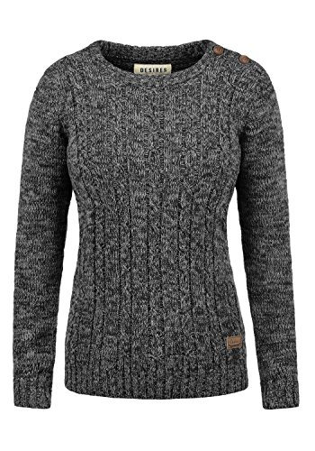 DESIRES Phia Damen Winter Strickpullover Troyer Grobstrick Pullover, Größe:M, Farbe:Black (9000)
