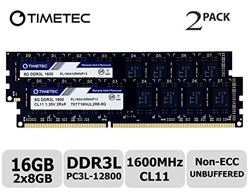 Timetec Hynix IC 16GB Kit (2x8GB) DDR3L 1600MHz PC3-12800 Unbuffered Non-ECC 1.35V CL11 2Rx8 Dual Rank 240 Pin UDIMM Desktop Arbeitsspeicher Module Upgrade (16GB Kit (2x8GB))