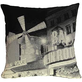 """Ideal Textiles Exclusive, Luxury Tapestry Cushion Cover, Photo Cushion Covers, City Scenes, Hollywood Legends, Iconic Landmarks, 18"""" x 18"""" (Moulin Rouge)"""