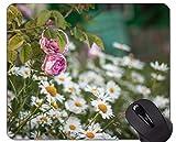 Yanteng Gaming Mouse Pad Custom, Pink Rose Flor - Bordes cosidos