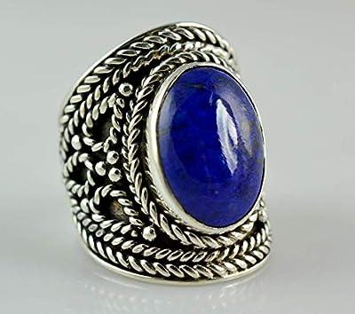 Bague Lapis Lazuli, Bague en argent Lapis Lazuli, Argent Sterling 925, Bague pierres précieuses, Bague en argent, Bague Lapis en argent, Bague bleue de la taille 44 à 64 FR