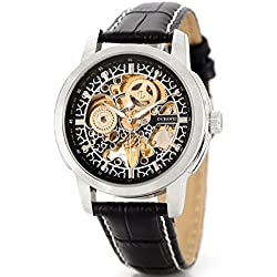 Alienwork Automatic Watch Self-winding Skeleton Mechanical Leather black black OS.OYW1302-01-R1