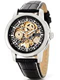 Alienwork Herren Damen mechanische Automatik-Uhr silber mit Lederarmband schwarz