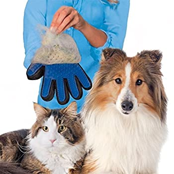Angeloo Pet Gant de toilettage pour chien ou chat Brosse de massage Gants Real Touch Gant de démêlage Cheveux Remover Brosse