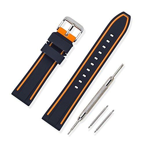 Vinband Bracelet Montre Haute Qualité Remplacer Silicone Bracelet Montre Bicouche Bicolore - 20mm, 22mm, 24mm Caoutchouc Montre Bracelet avec Acier Inoxydable Boucle (20mm, Orange)
