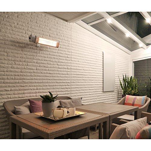 VASNER Infrarotstrahler Appino 20 silber, Terrassenstrahler mit AirCape Abdeckhaube für Außenbereich, 2000 Watt, Fernbedienung, App-Bedienung - 4