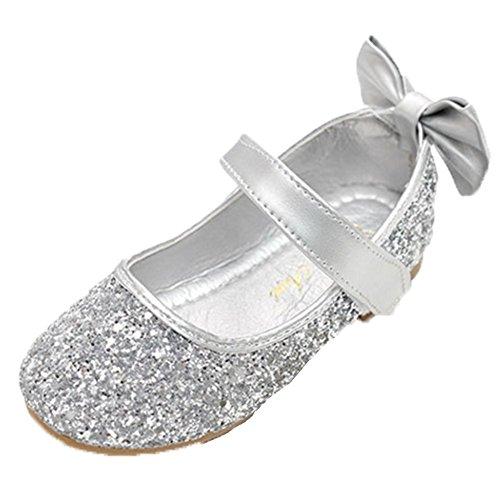 Ohmais Enfants Filles Chaussure cérémonie Ballerines à bride Fête Demoiselle d'honneur Mariage Escarpin plat Babies Argent